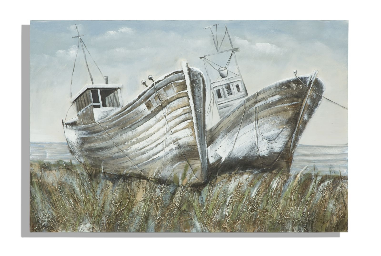 Tablou pictat manual Two Boats, 80×120 cm