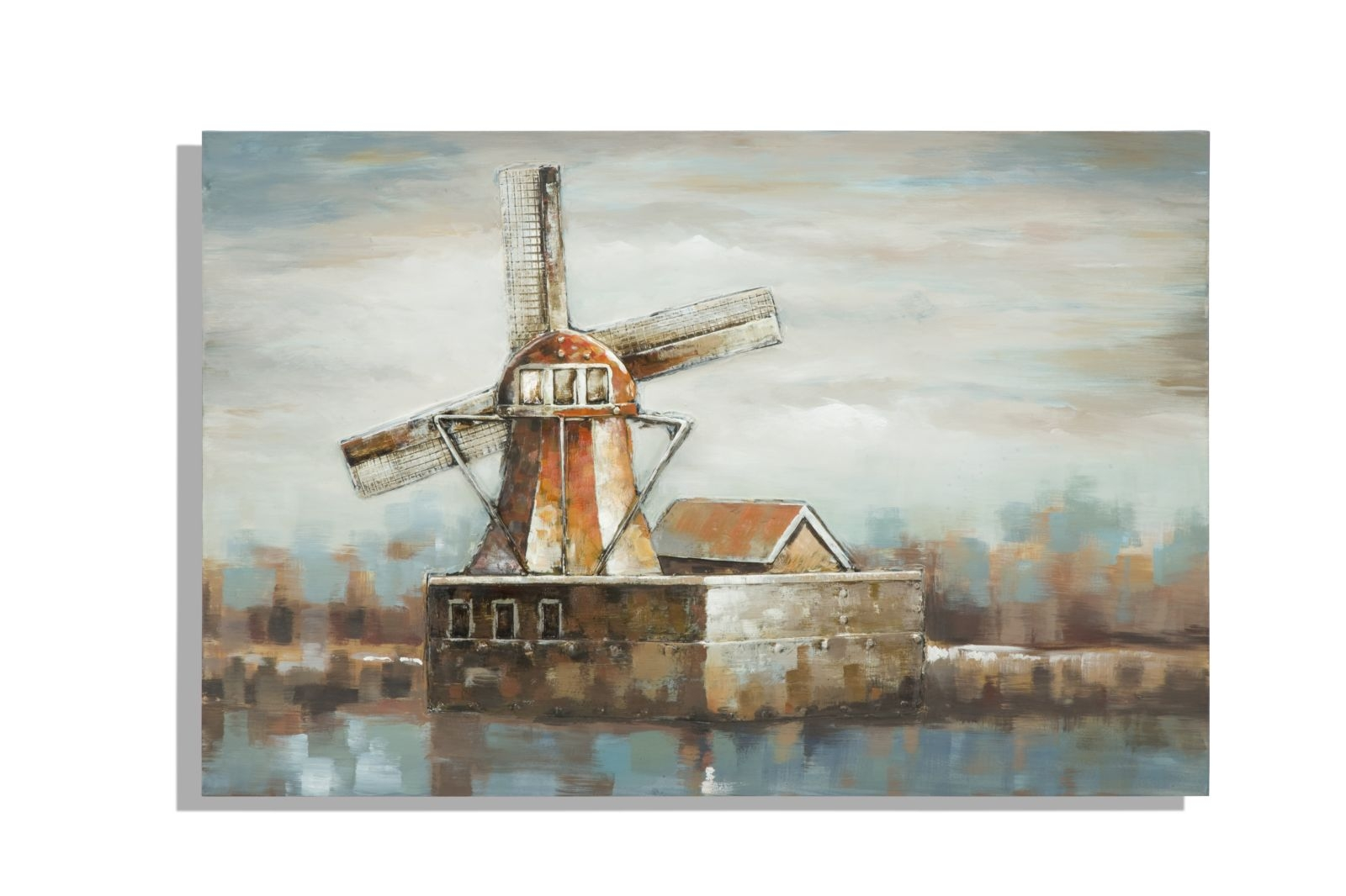 Tablou pictat manual Windmill Village, 80×120 cm