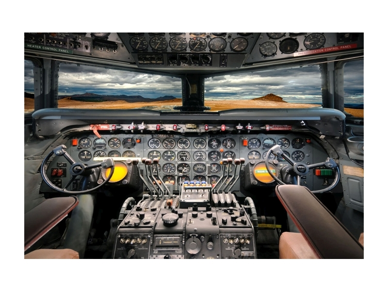 Tablou Sticla Airplane Cockpit, 120 x 80 cm imagine