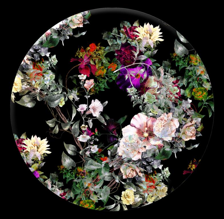 Tablou Sticla Glasspik Ringart GR009 Floral, Ø70 cm poza