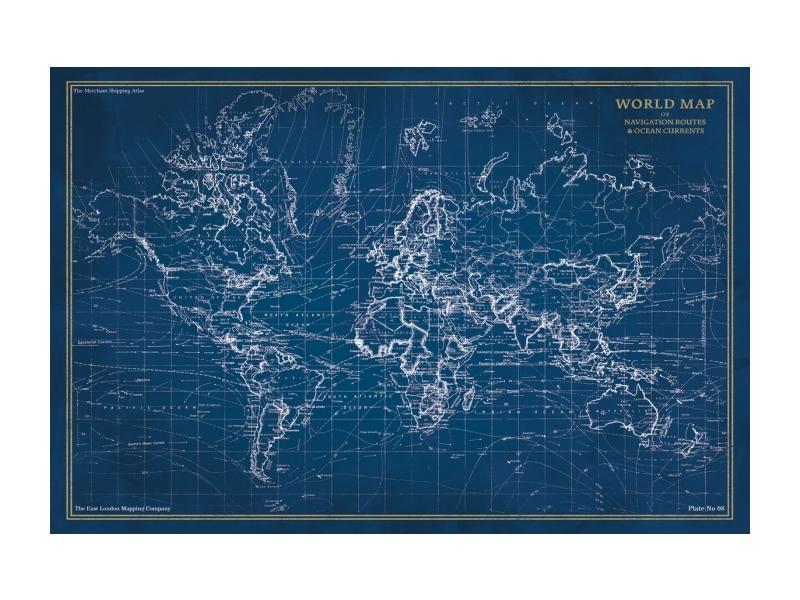Tablou Sticla Map