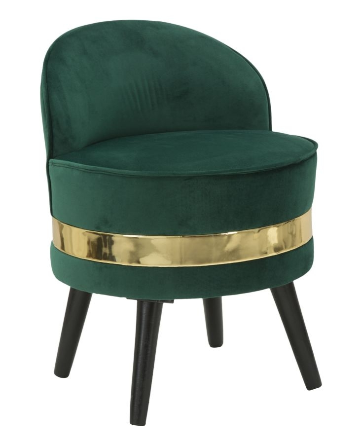Taburet cu spatar tapitat cu stofa cu picioare din lemn Paris Dark Green O 45xH62 cm