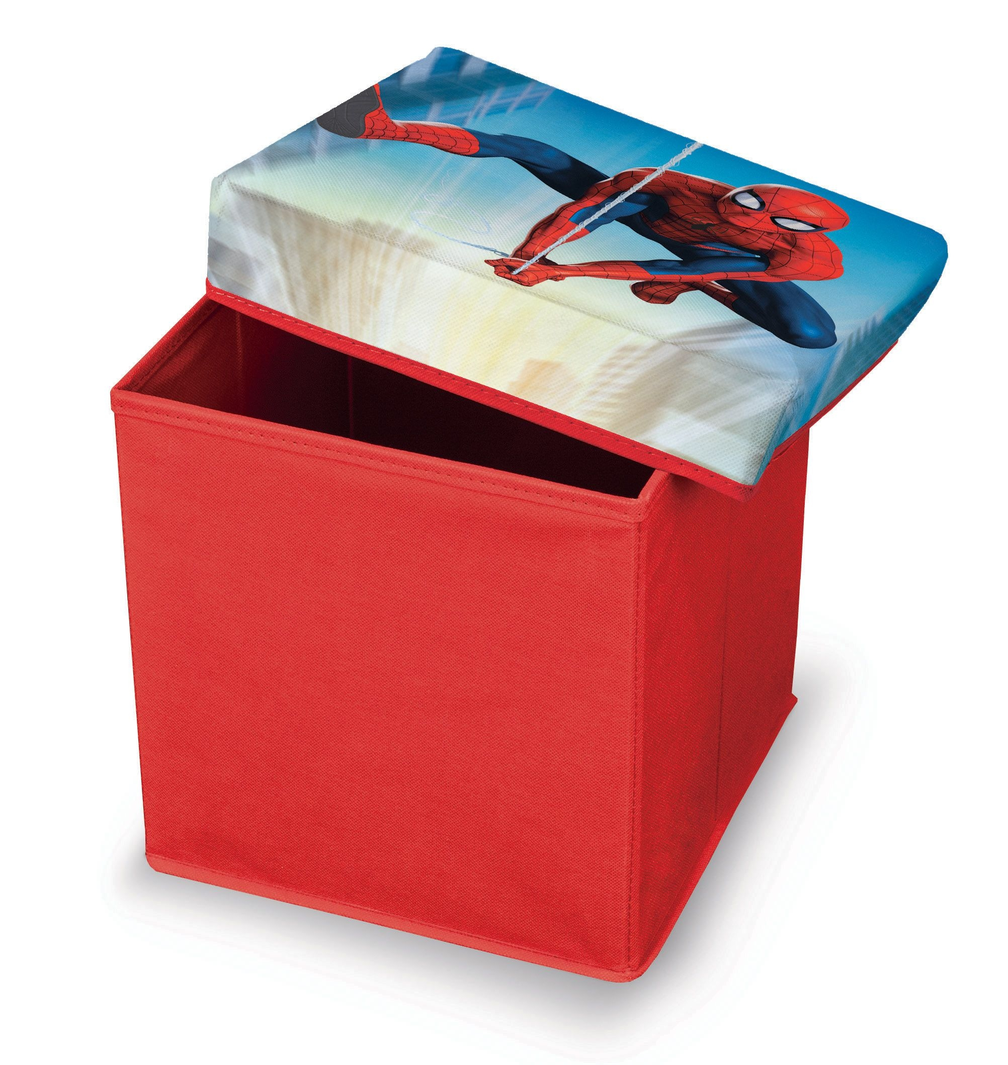 Taburet pentru copii cu spatiu de depozitare Spiderman Rosu, l30xA30xH30 cm