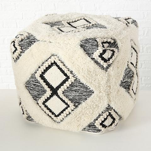 Taburet din lana si bumbac Toulia Alb / Negru, l50xA50xH50 cm imagine