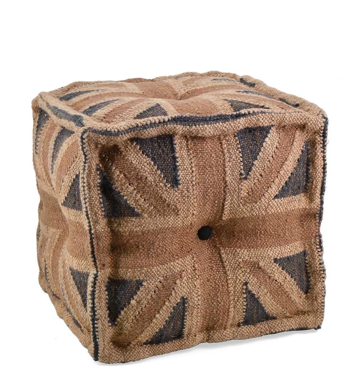 Taburet din lana si iuta England Multicolor, l40xA40xH40 cm imagine