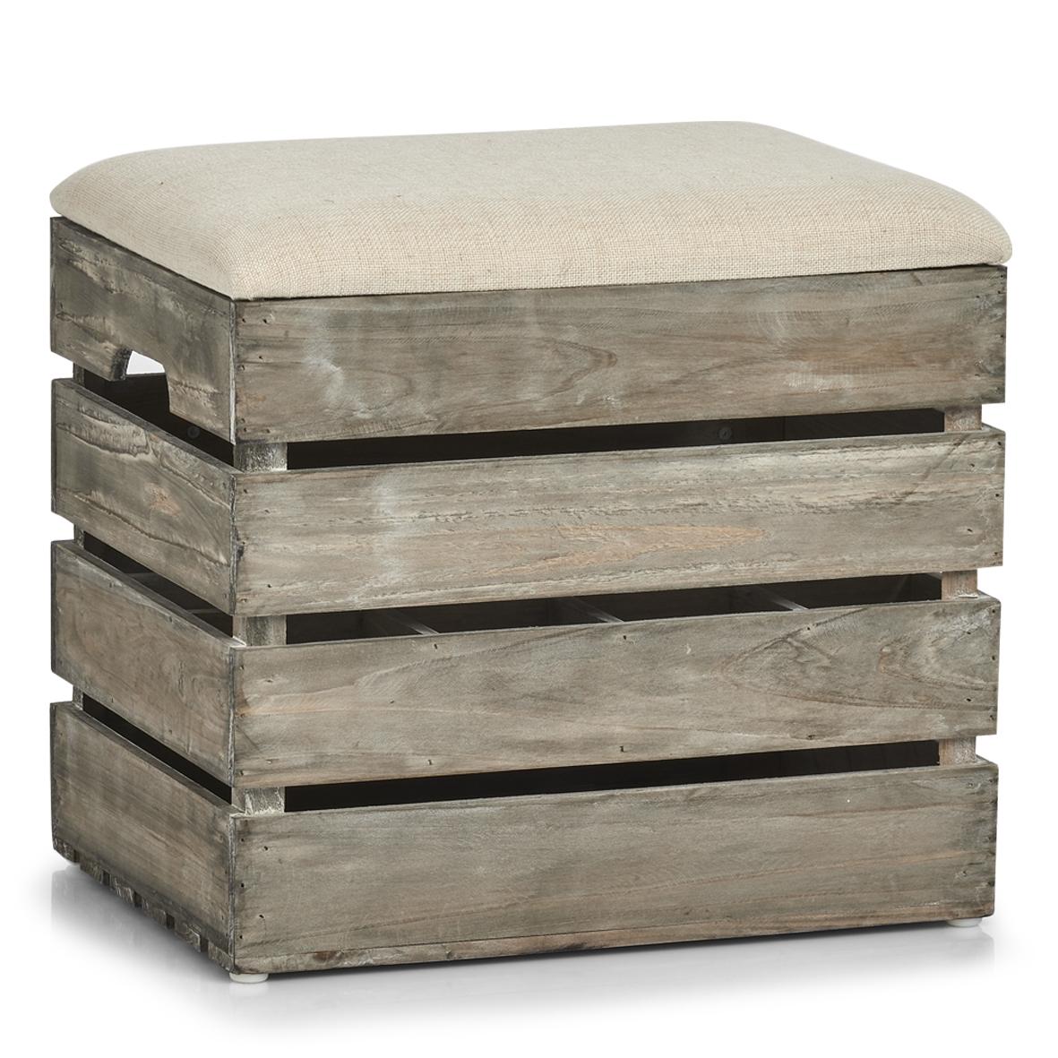 Taburet din lemn cu spatiu de depozitare, Wood Natural, l40xA29,5xH37 cm imagine