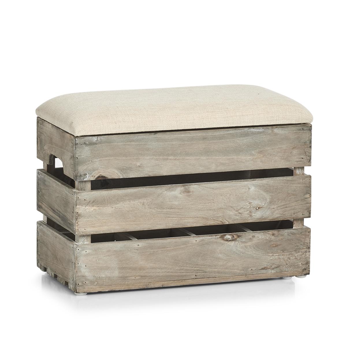 Taburet din lemn cu spatiu de depozitare, Wood Small Natural, l40xA20,5xH29 cm imagine