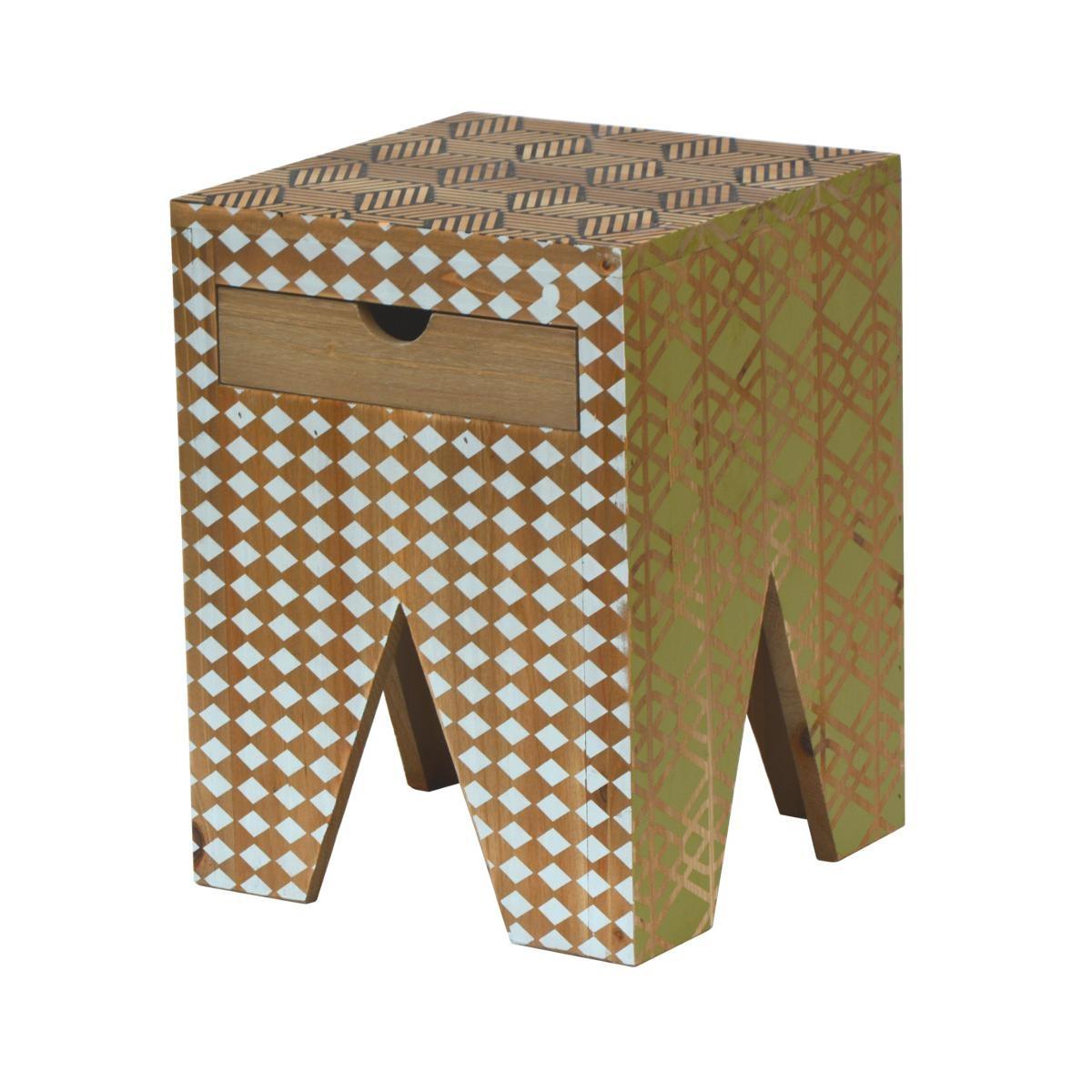 Taburet din lemn de brad cu 1 sertar Portofino F037 Multicolour, l30xA30xH40 cm imagine
