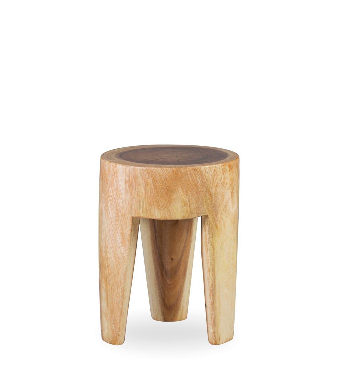 Taburet din lemn Log Natural,Ø35xH45 cm imagine
