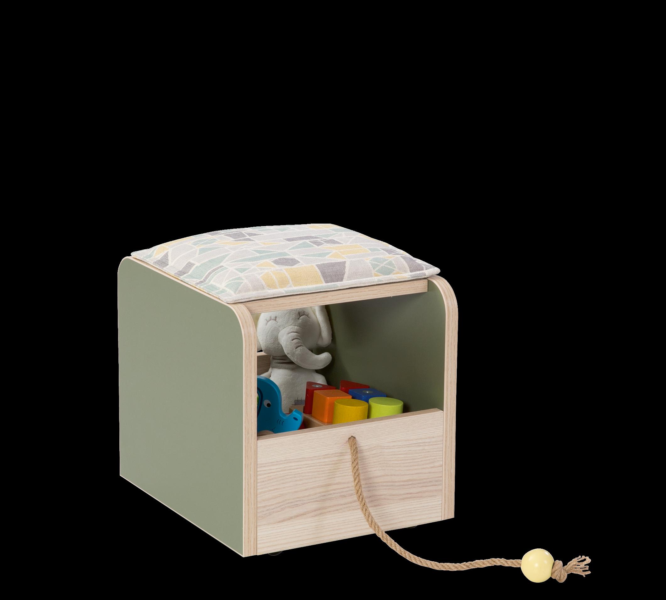 Taburet din pal, cu spatiu de depozitare pentru copii Montessori Verde / Natural, l29xA40xH34 cm somproduct.ro