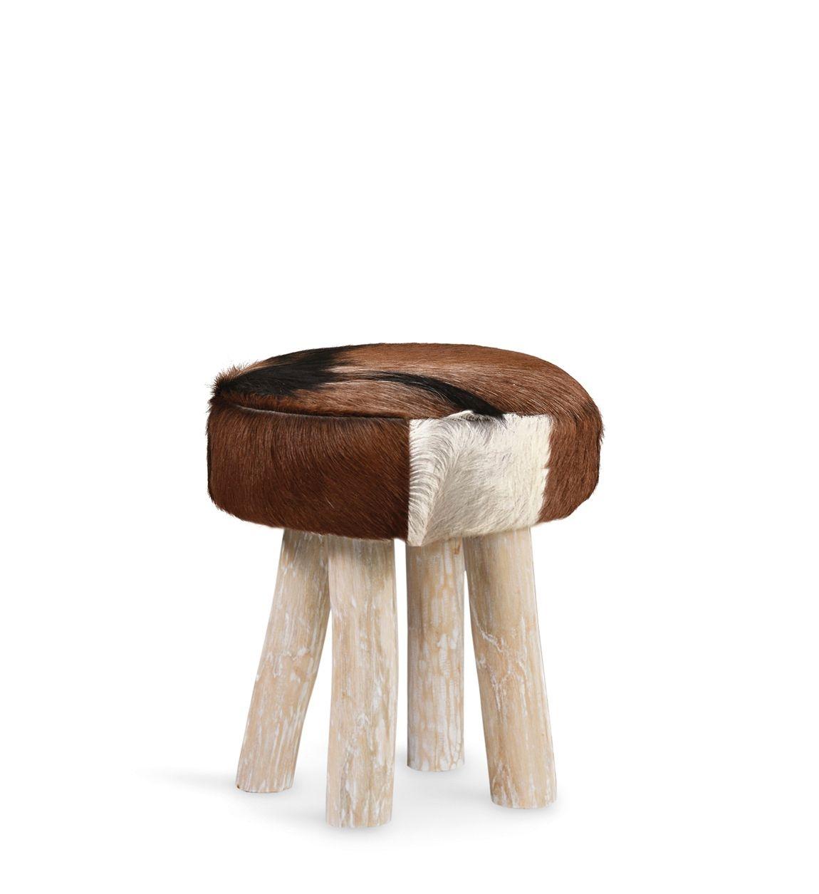 Taburet tapitat cu piele naturala si picioare din lemn Goat Maro / Natural, Ø38xH45 cm imagine