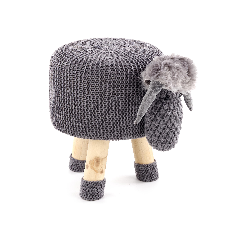 Taburet pentru copii tapitat cu stofa, cu picioare din lemn Dolly 1 Grey, Ø35xH28 cm imagine