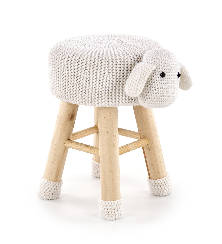 Taburet pentru copii tapitat cu stofa, cu picioare din lemn Dolly 2 Cream, Ø42xH29 cm imagine