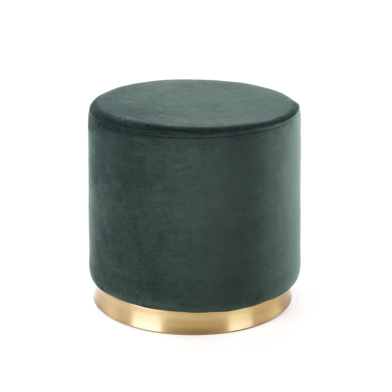 Taburet tapitat cu stofa Covet Dark Green / Gold, Ø42xH43 cm