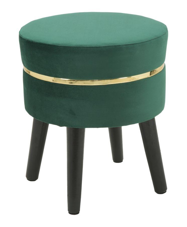 Taburet tapitat cu stofa cu picioare din lemn Paris Dark Green O 35xH405 cm