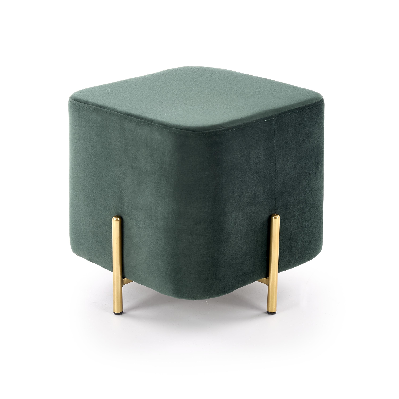 Taburet tapitat cu stofa cu picioare din metal Corno Dark Green / Gold l42xA42xH42 cm