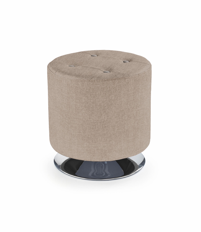 Taburet tapitat cu stofa, cu picior metalic Dora 2 Beige, Ø42xH42 cm imagine