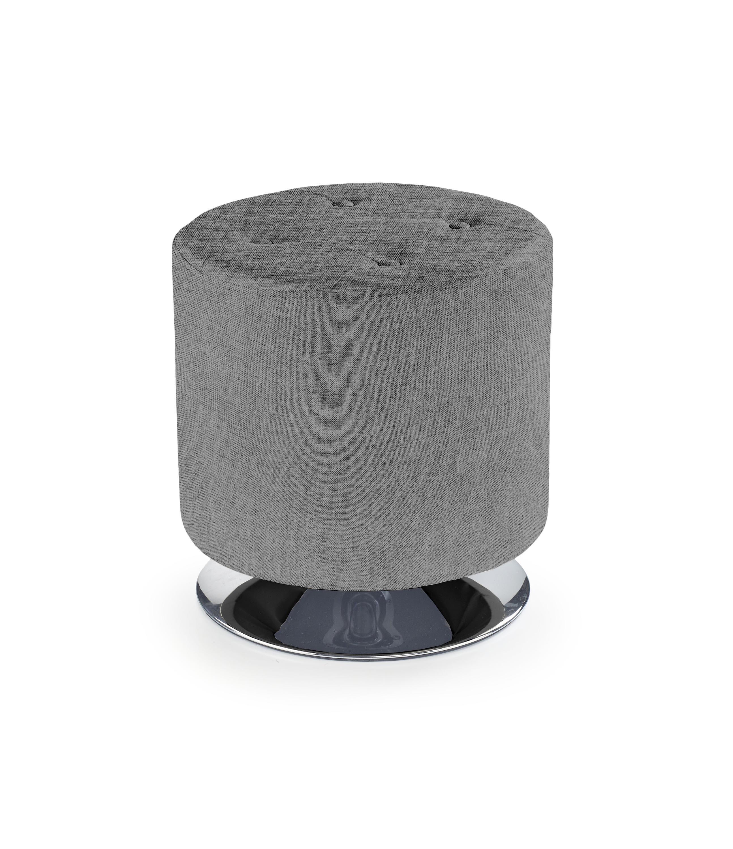 Taburet tapitat cu stofa, cu picior metalic Dora 2 Light Grey, Ø42xH42 cm