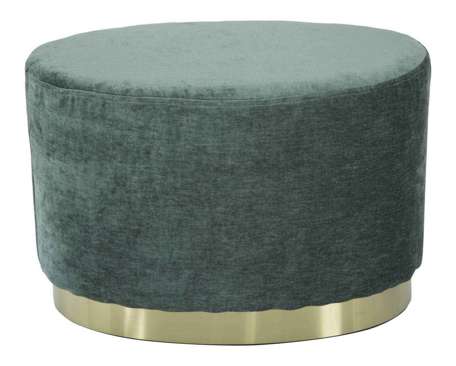Taburet tapitat cu stofa Goldy Ovale Green l60xA40xH40 cm