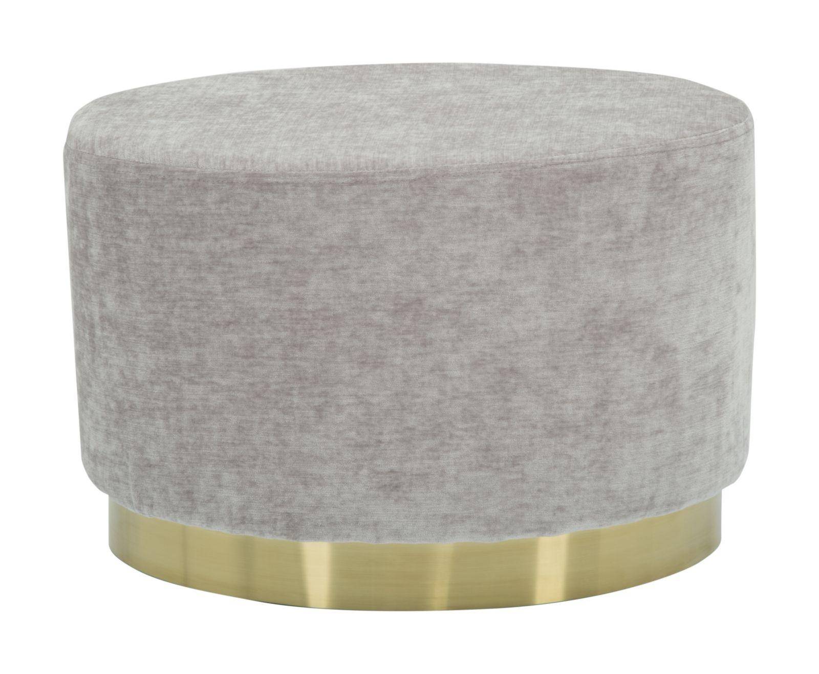 Taburet tapitat cu stofa Goldy Ovale Small Grey l52xA35xH35 cm