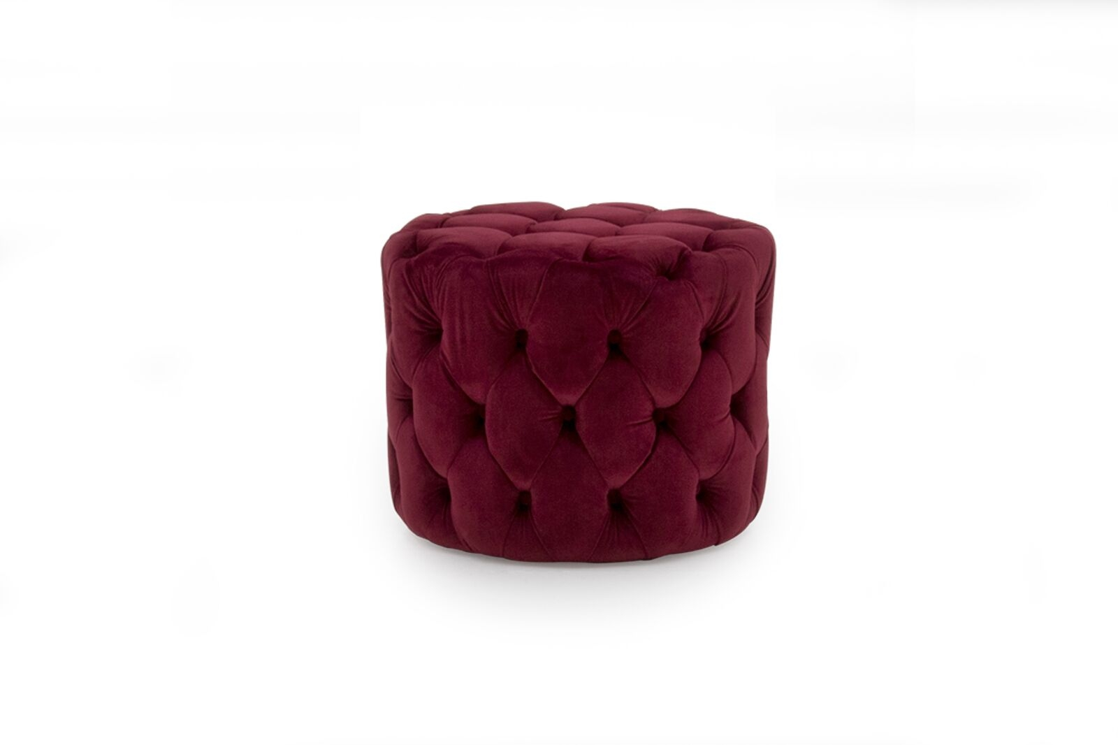 Taburet tapitat cu stofa Perkins Velvet Crimson O55xH45 cm