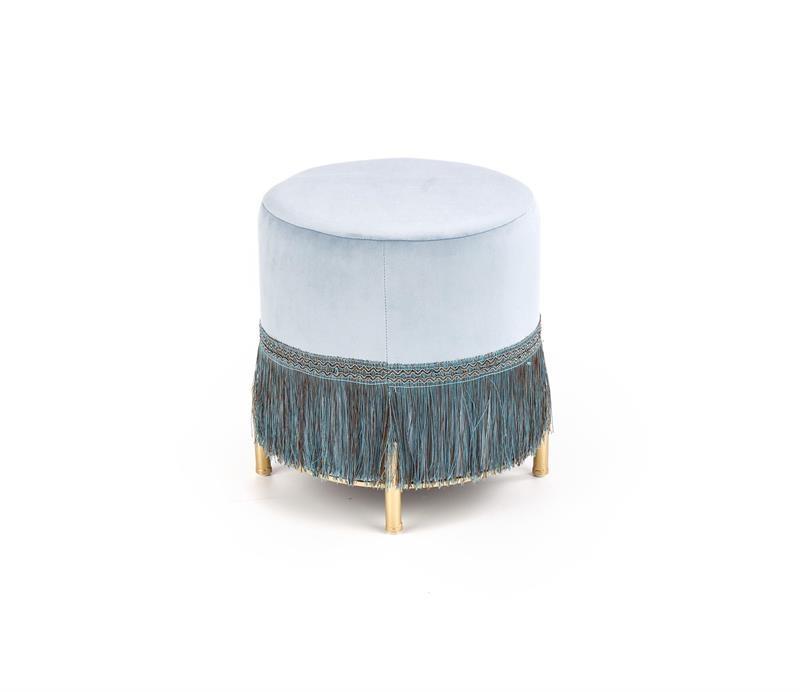 Taburet tapitat cu stofa si picioare metalice Cosby Albastru deschis / Auriu, Ø39xH39 cm imagine