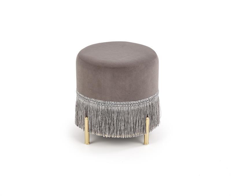 Taburet tapitat cu stofa si picioare metalice Cosby Gri / Auriu, Ø39xH39 cm imagine