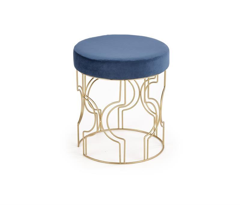 Taburet tapitat cu stofa si picioare metalice Ferrero Albastru inchis / Auriu, Ø40xH46 cm