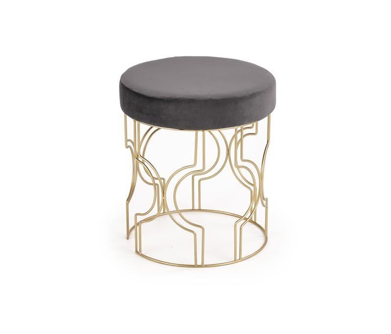 Taburet tapitat cu stofa si picioare metalice Ferrero Gri / Auriu, Ø40xH46 cm imagine