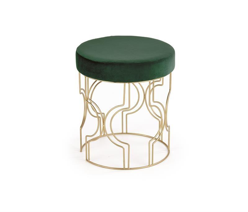 Taburet tapitat cu stofa si picioare metalice Ferrero Verde inchis / Auriu, Ø40xH46 cm imagine