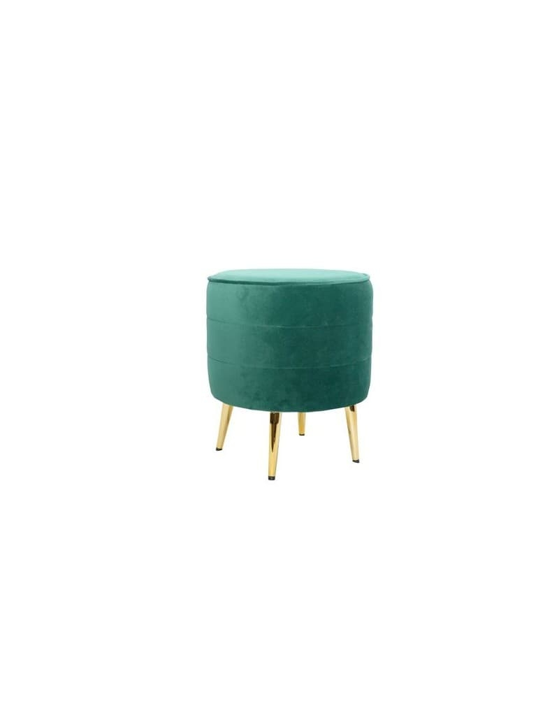 Taburet tapitat cu stofa si picioare metalice Pouf Velvet Verde / Auriu, Ø40xH44,5 cm somproduct.ro