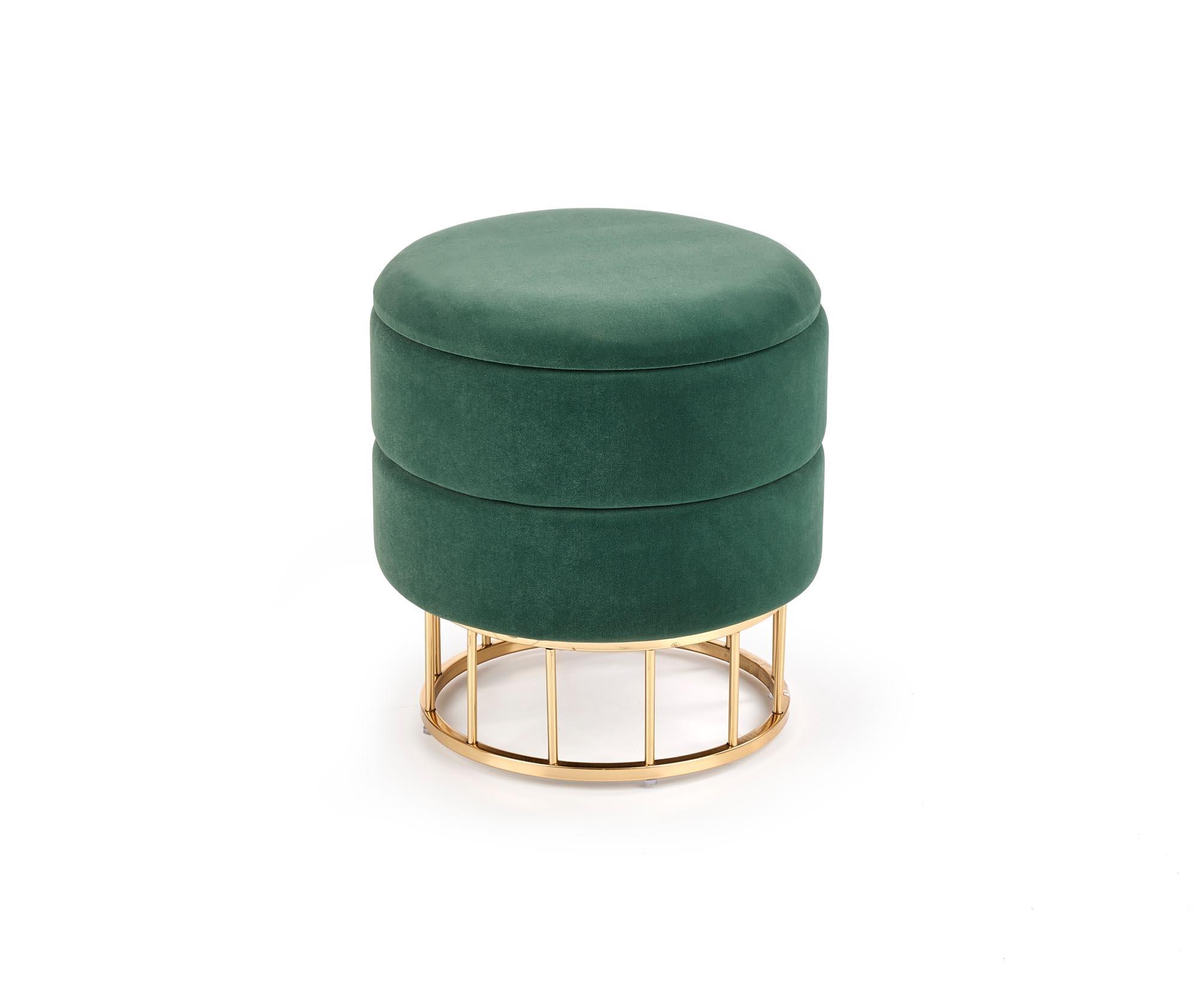 Taburet tapitat cu stofa si spatiu de depozitare Minty Verde inchis / Auriu, Ø37xH41 cm imagine