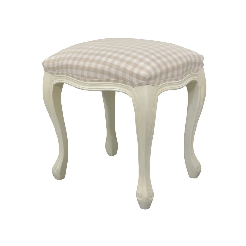 Taburet tapitat cu stofa, cu picioare din lemn de plop Upholstered TA325B Cream, l45xA35xH49 cm poza