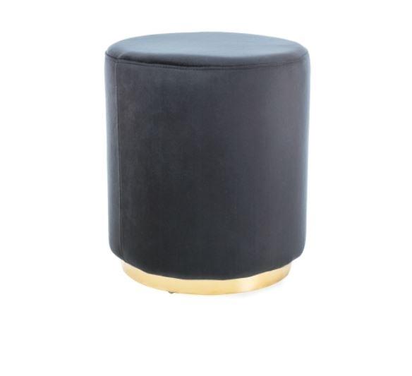 Taburet tapitat cu stofa Furla Gold Black, Ø 42xH48 cm imagine