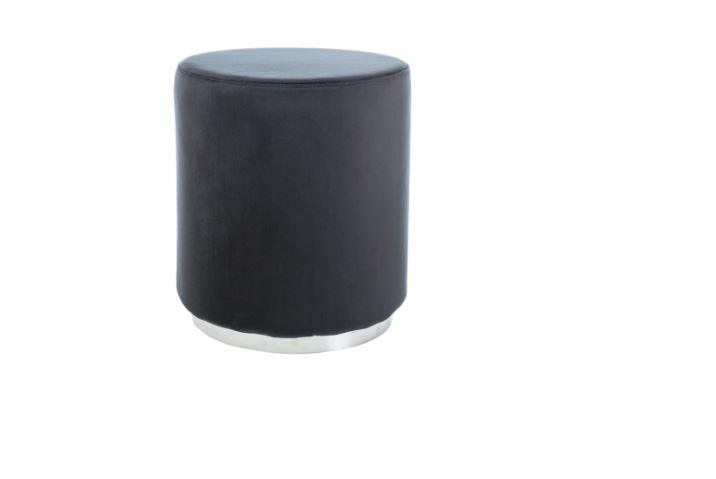 Taburet tapitat cu stofa Furla Silver Black, Ø 42xH48 cm somproduct.ro