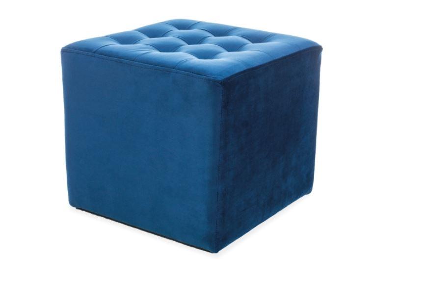 Taburet tapitat cu stofa Lori Velvet Blue l39xA39xH34 cm