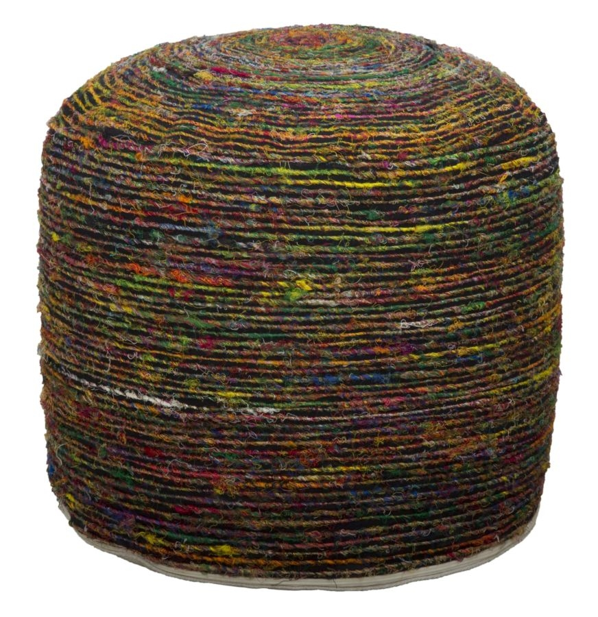 Taburet tapitat cu stofa Madagascar Round Multicolor O 50xH40 cm