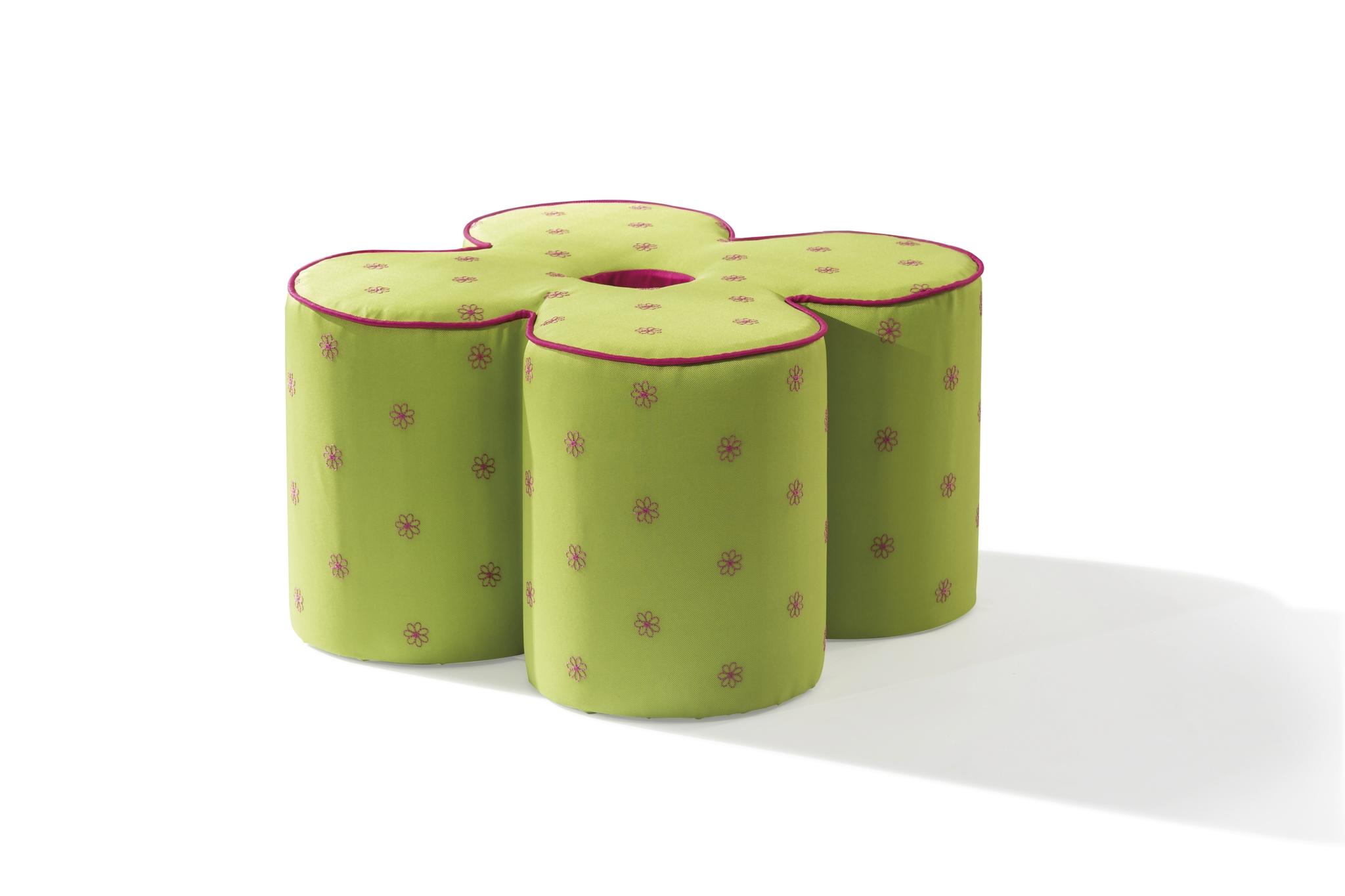 Taburet pentru copii, tapitat cu stofa Daisy Green, l50xA50xH30 cm