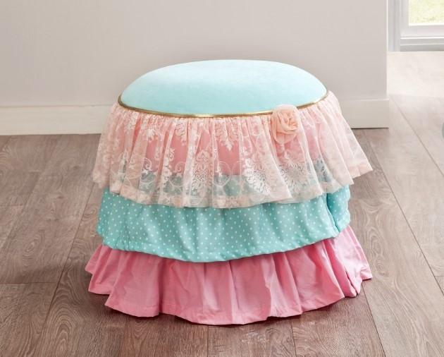 Taburet pentru copii tapitat cu stofa Rose Multicolour O50xH50 cm