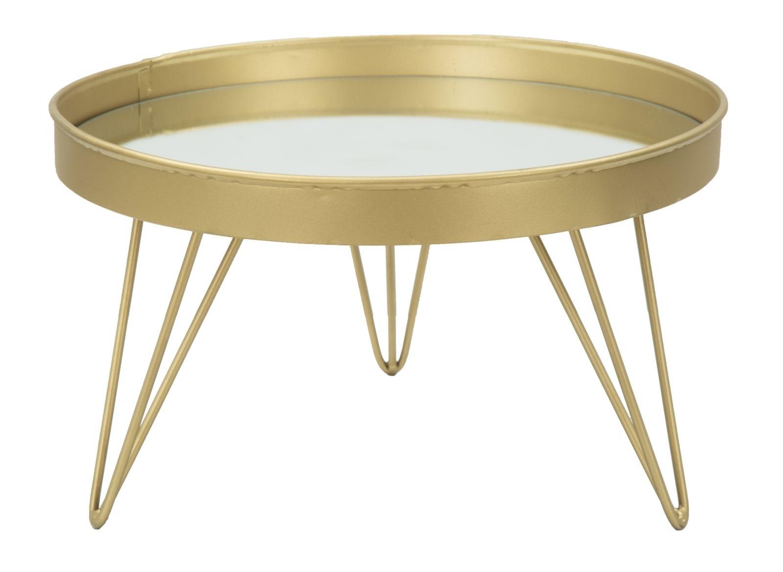 Tava decorativa din metal si sticla Glam Gold, Ø31xH18 cm