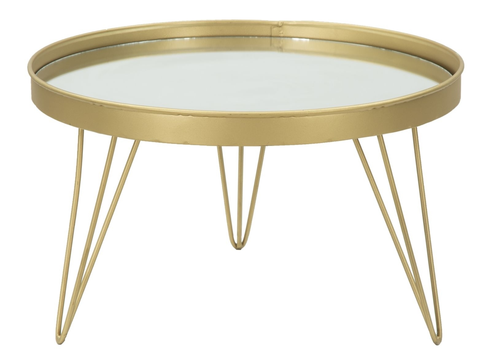 Tava decorativa din metal si sticla Glam Gold O365xH22 cm