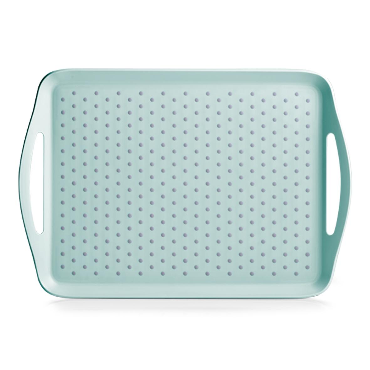Tava pentru servire Anti-Slip, Plastic, l45,5xA32xH4,5 cm-Verde Mint imagine