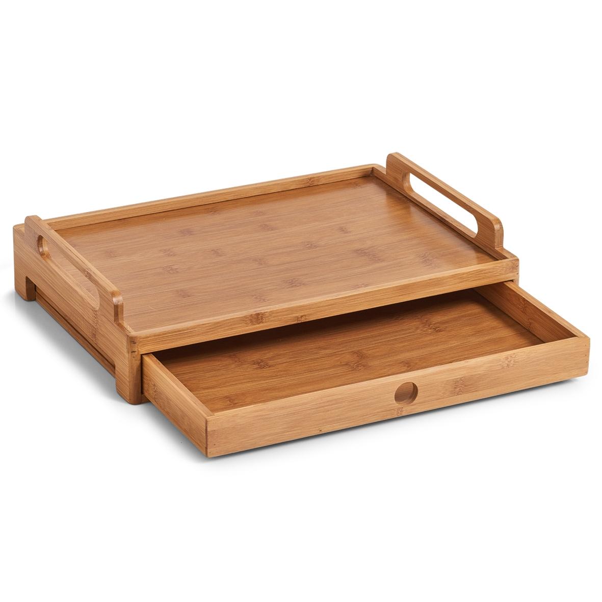 Tava pentru servire cu sertar, Bamboo Natural, l43xA31xH10 cm poza