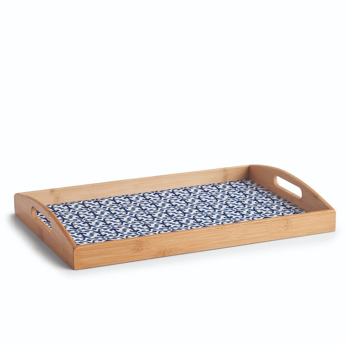 Tava pentru servire, din bambus, Bamboo Albastru / Natural, L44xl30xH5,5 cm poza