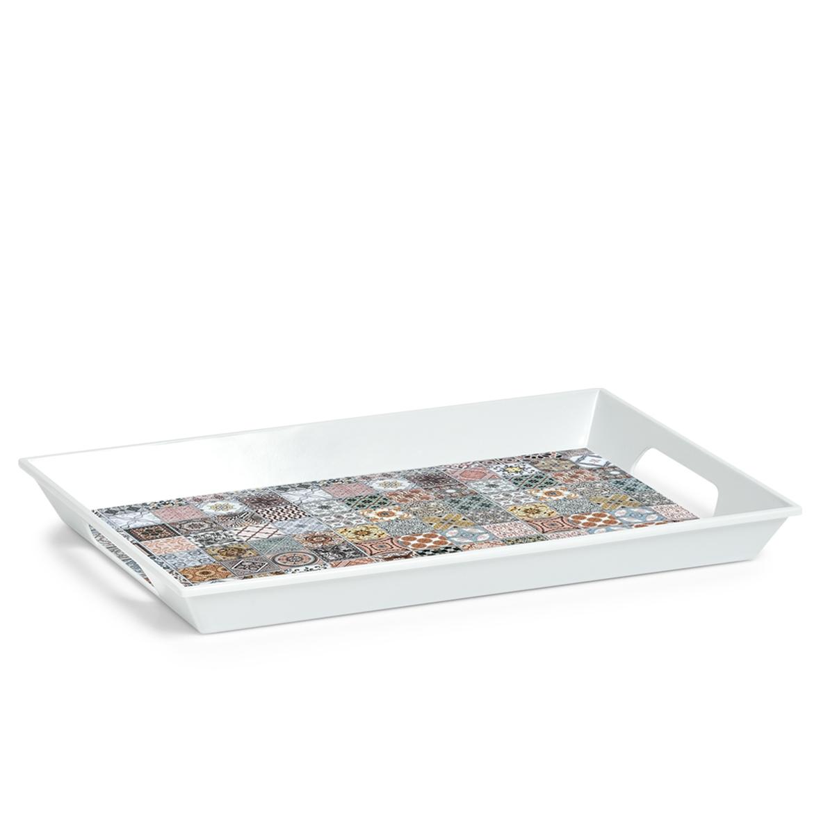 Tava pentru servire din melamina, Mosaic Multicolor, L50xl35 cm imagine