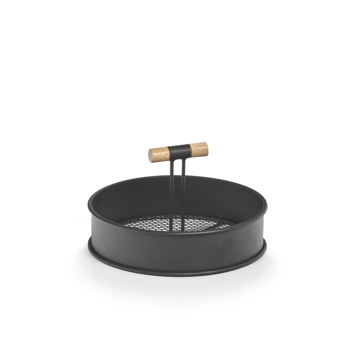 Tava pentru servire din metal, Wood Small Negru, Ø20xH11,6 cm poza