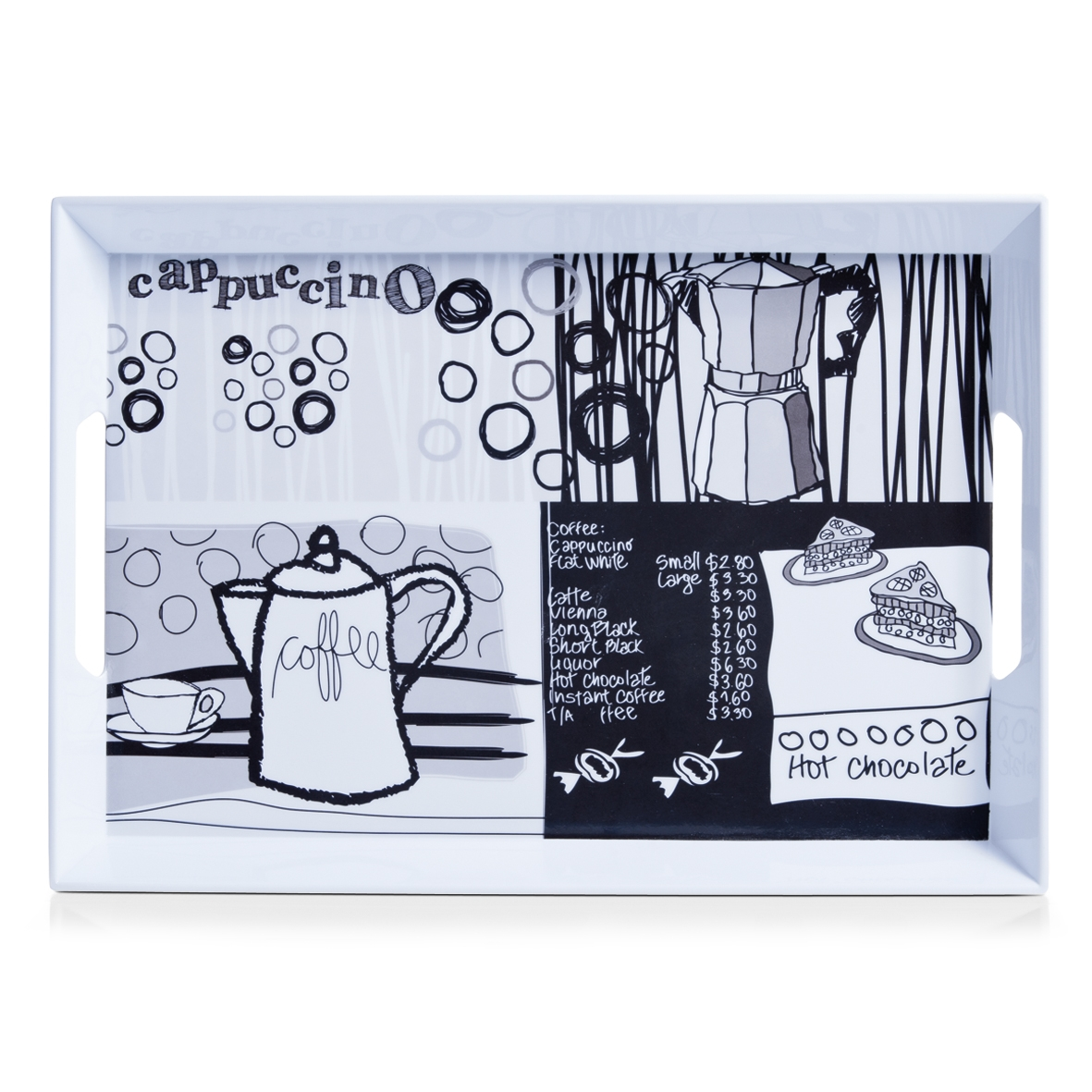 Tava pentru servire Fun Coffee, Melamina Black/White, l50xA35xH5 cm imagine