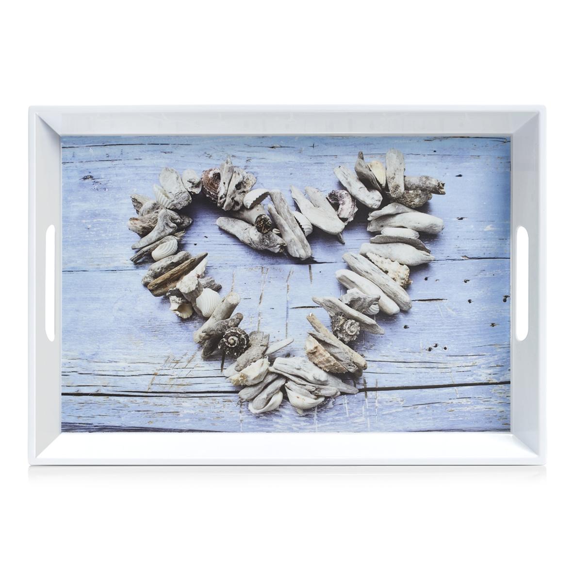 Tava pentru servire Heart, Melamina Multicolor, l50xA35xH5 cm imagine