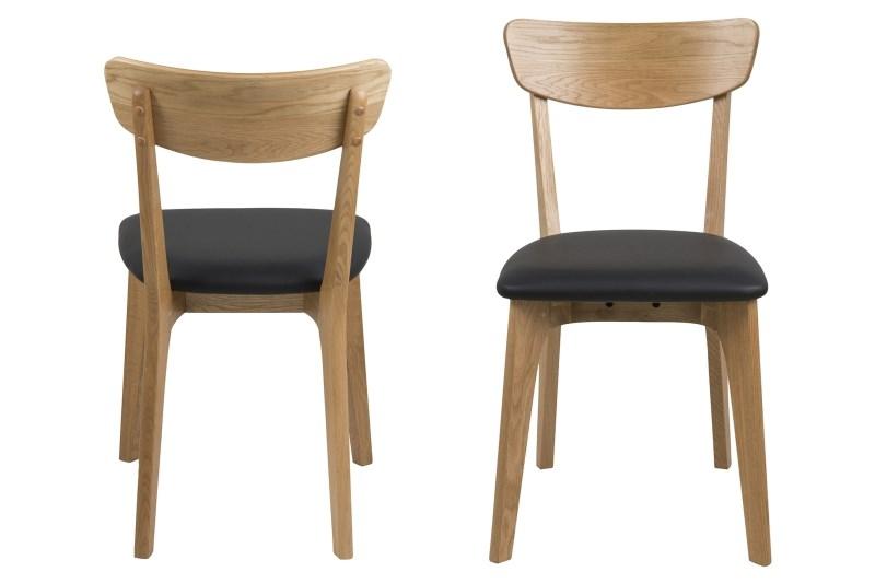Set 2 scaune din lemn tapitate Taxi Black