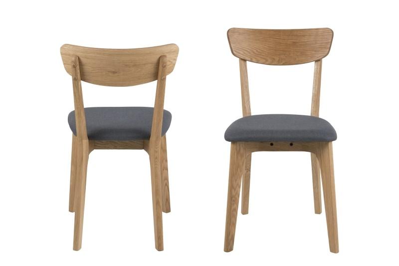Set 2 scaune din lemn tapitate Taxi Dark Grey